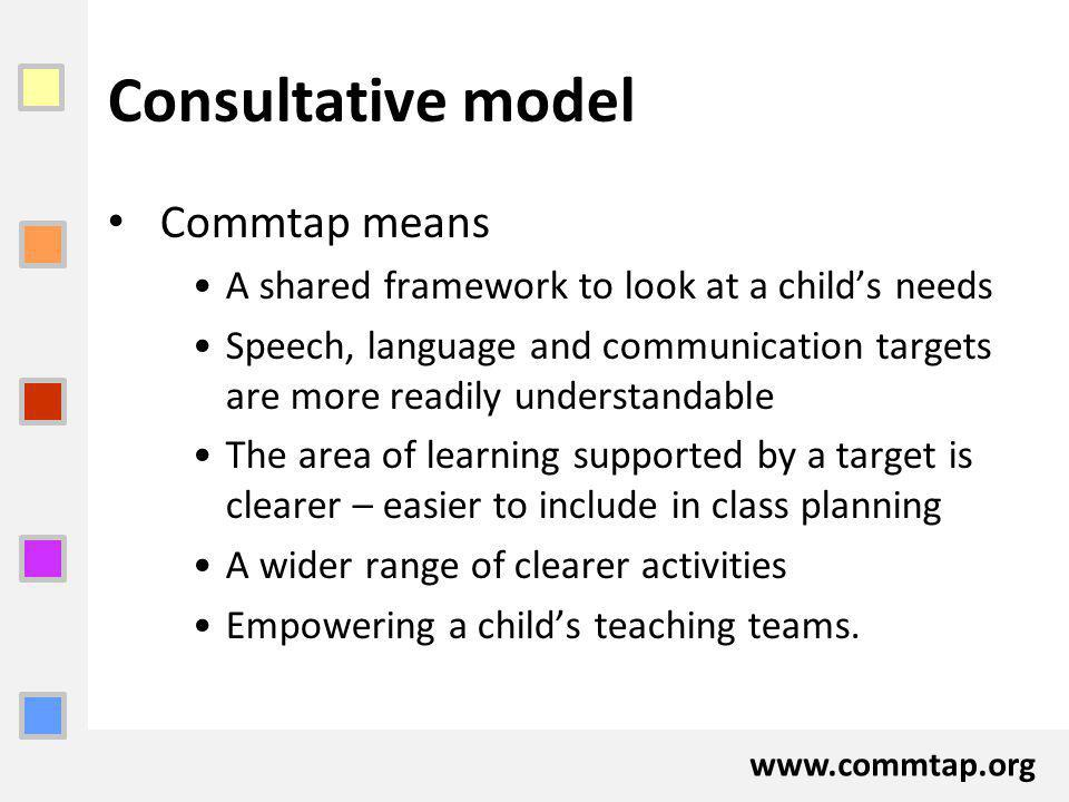 www.commtap.org Consultative model Commtap means A shared framework to look at a childs needs Speech, language and communication targets are more readily understandable The area of learning supported by a target is clearer – easier to include in class planning A wider range of clearer activities Empowering a childs teaching teams.