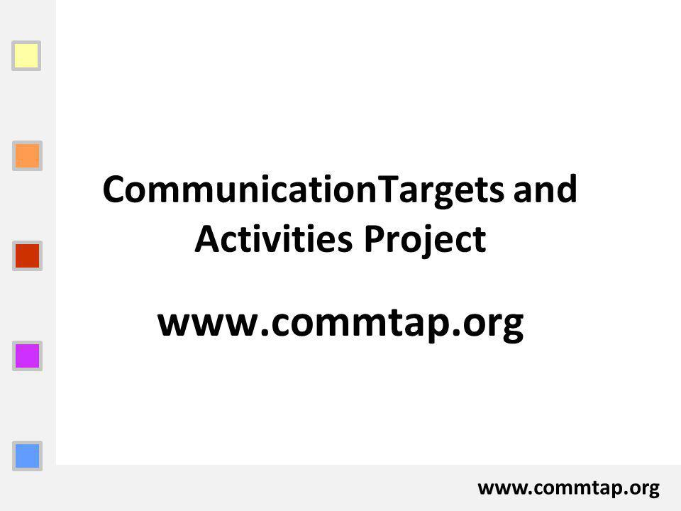 www.commtap.org CommunicationTargets and Activities Project www.commtap.org