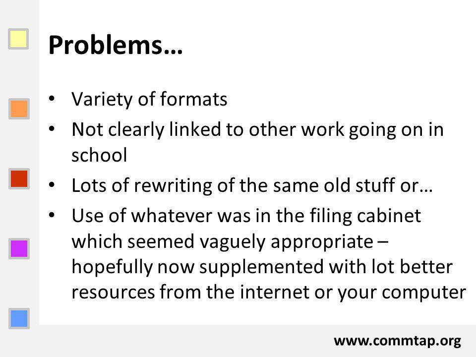 www.commtap.org Problems… Variety of formats Not clearly linked to other work going on in school Lots of rewriting of the same old stuff or… Use of wh