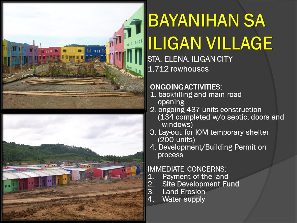 BAYANIHAN SA ILIGAN VILLAGE STA. ELENA, ILIGAN CITY 1,712 rowhouses ONGOING ACTIVITIES: 1. backfilling and main road opening 2. ongoing 437 units cons