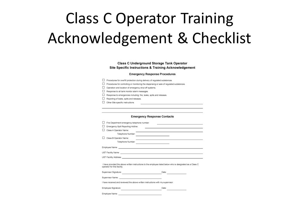 Class C Operator Training Acknowledgement & Checklist