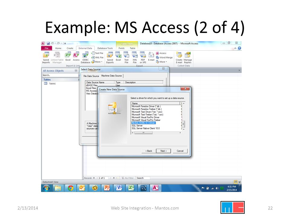 Example: MS Access (2 of 4) 2/13/2014Web Site Integration - Mantos.com22