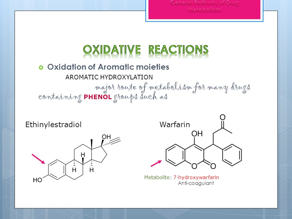Oxidation of Aromatic moieties AROMATIC HYDROXYLATION major route of metabolism for many drugs containing PHENOL groups such as Ethinylestradiol Warfa