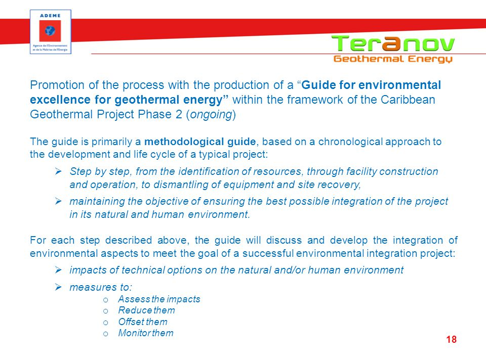 Promotion of the process with the production of a Guide for environmental excellence for geothermal energy within the framework of the Caribbean Geoth