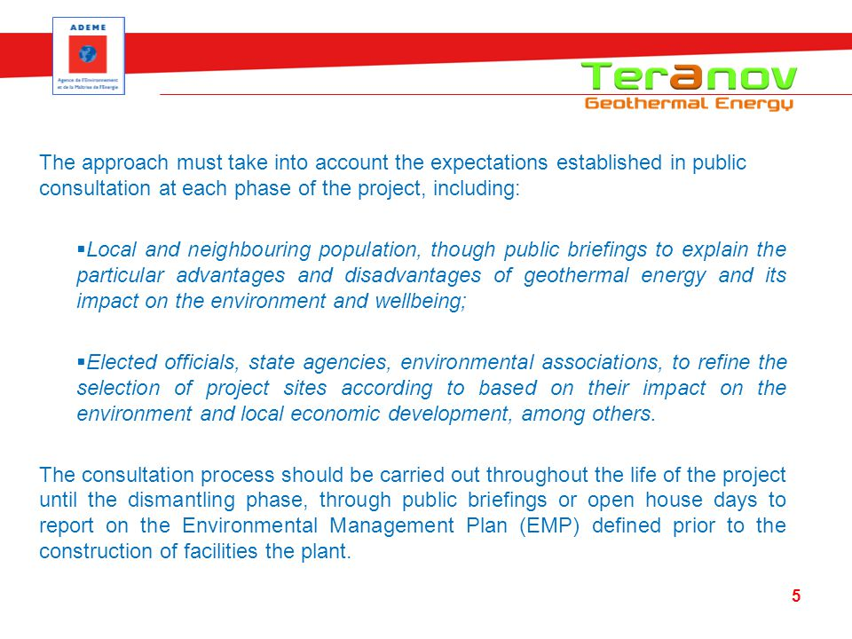 The approach must take into account the expectations established in public consultation at each phase of the project, including: Local and neighbourin