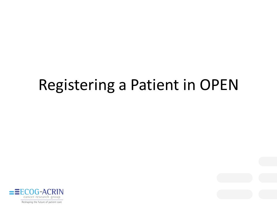 Registering a Patient in OPEN