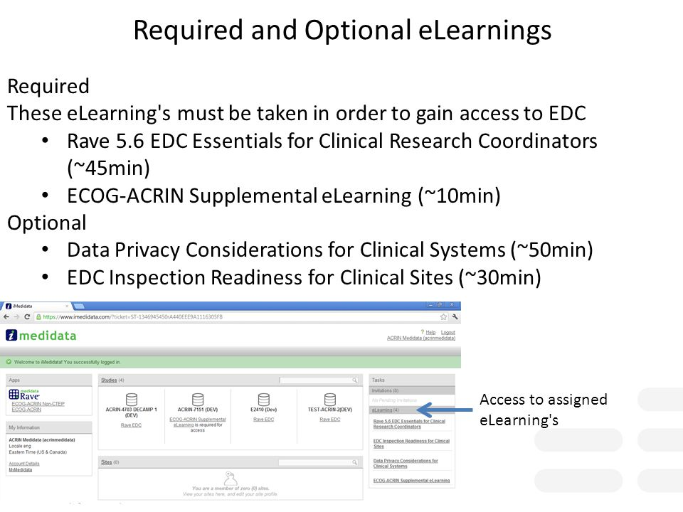 Required and Optional eLearnings Required These eLearning's must be taken in order to gain access to EDC Rave 5.6 EDC Essentials for Clinical Research