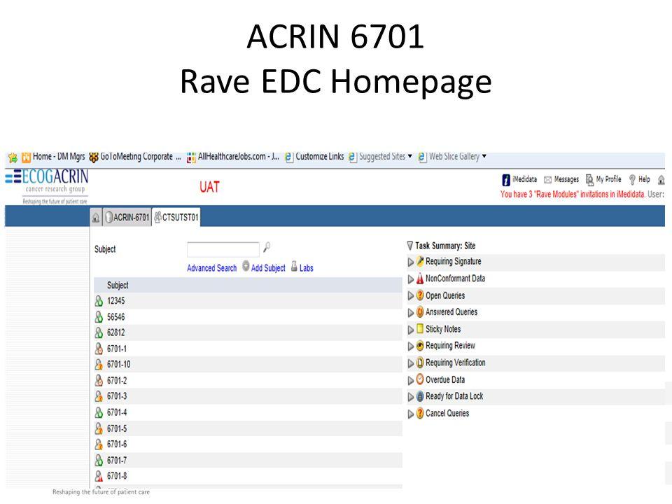 ACRIN 6701 Rave EDC Homepage