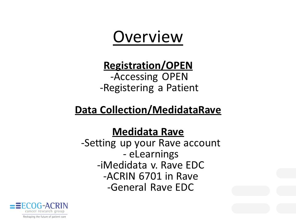 Registration/OPEN -Accessing OPEN -Registering a Patient Data Collection/MedidataRave Medidata Rave -Setting up your Rave account - eLearnings -iMedid
