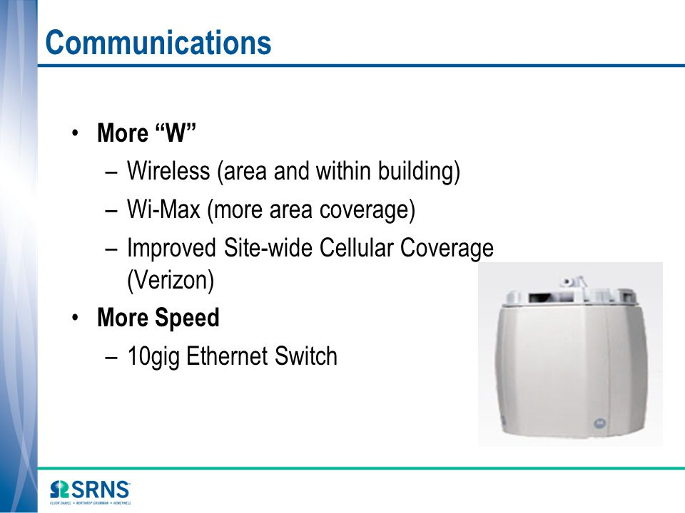 Communications More W –Wireless (area and within building) –Wi-Max (more area coverage) –Improved Site-wide Cellular Coverage (Verizon) More Speed –10