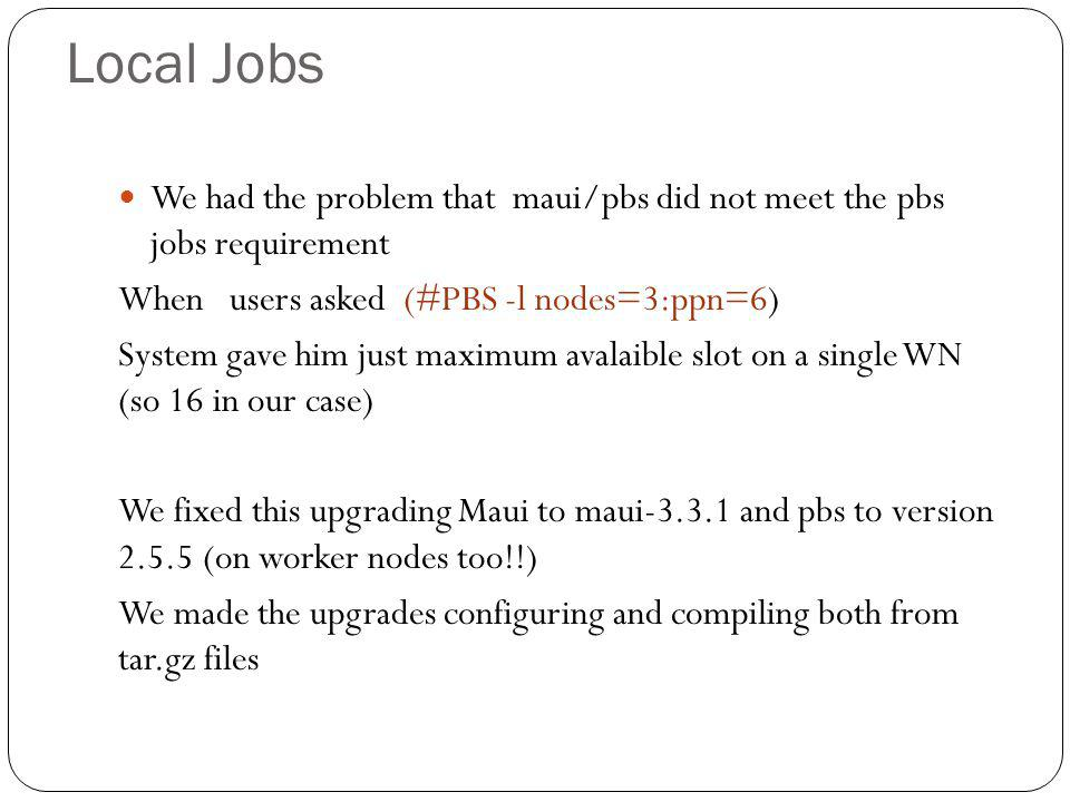 Local Jobs We had the problem that maui/pbs did not meet the pbs jobs requirement When users asked (#PBS -l nodes=3:ppn=6) System gave him just maximum avalaible slot on a single WN (so 16 in our case) We fixed this upgrading Maui to maui-3.3.1 and pbs to version 2.5.5 (on worker nodes too!!) We made the upgrades configuring and compiling both from tar.gz files