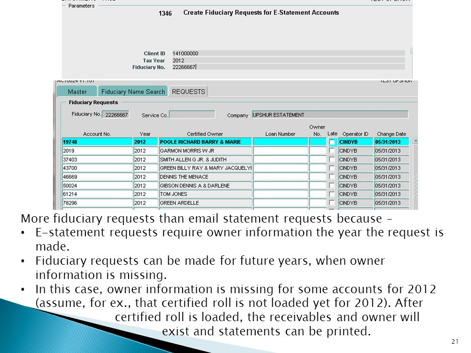More fiduciary requests than email statement requests because – E-statement requests require owner information the year the request is made. Fiduciary