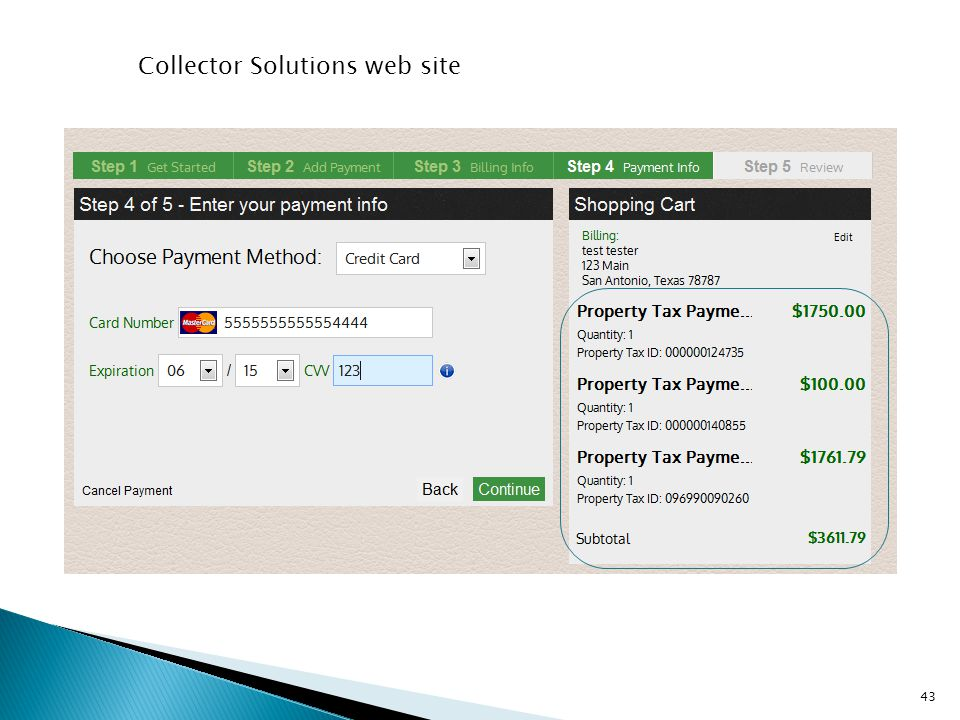 Collector Solutions web site 43
