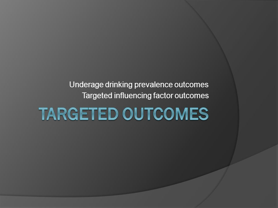 Underage drinking prevalence outcomes Targeted influencing factor outcomes