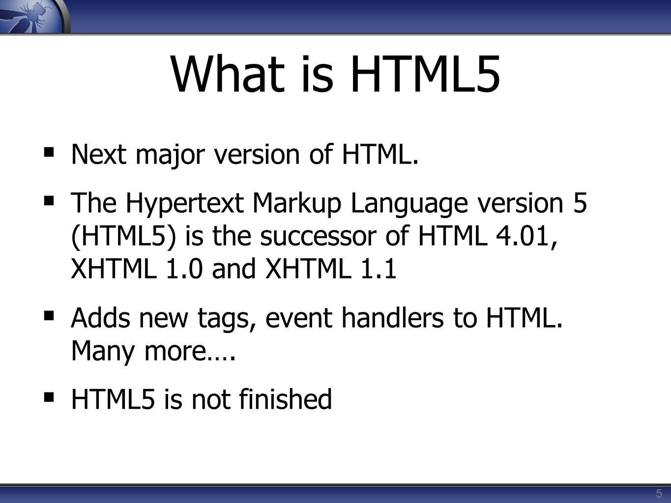 What is HTML5 Next major version of HTML. The Hypertext Markup Language version 5 (HTML5) is the successor of HTML 4.01, XHTML 1.0 and XHTML 1.1 Adds
