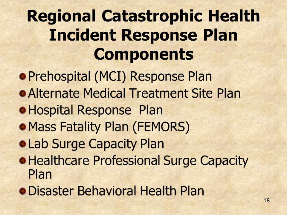 18 Regional Catastrophic Health Incident Response Plan Components Prehospital (MCI) Response Plan Alternate Medical Treatment Site Plan Hospital Respo