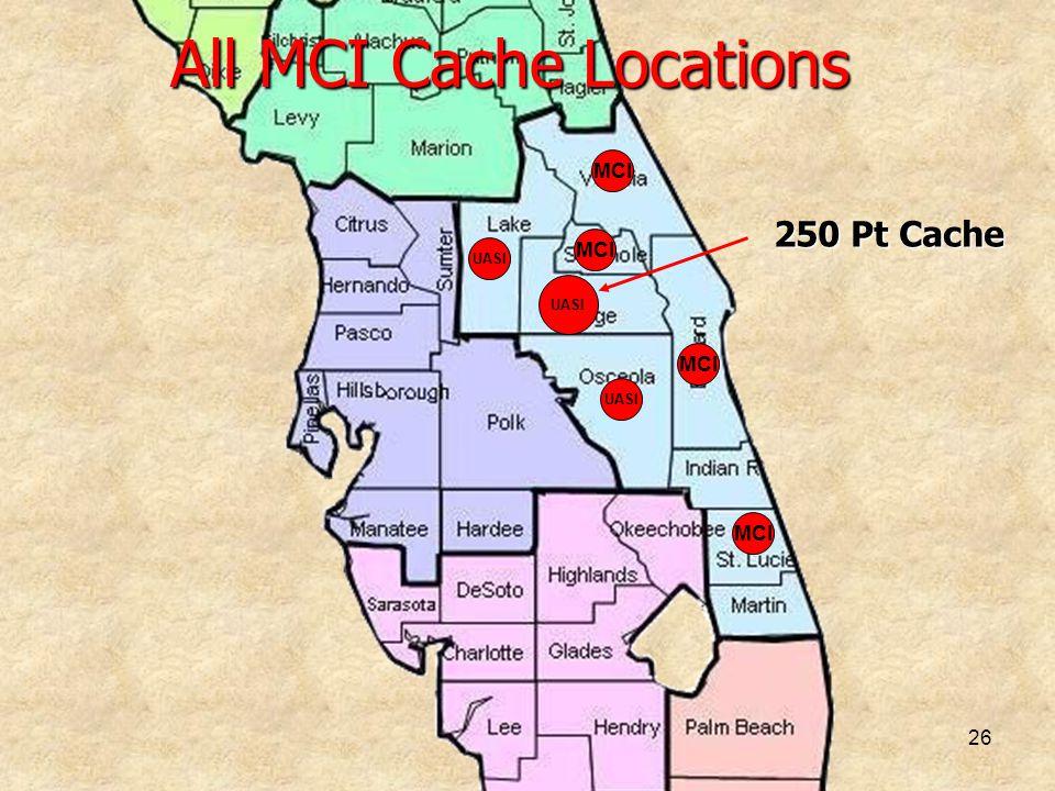 26 All MCI Cache Locations MCI UASI MCI UASI MCI 250 Pt Cache