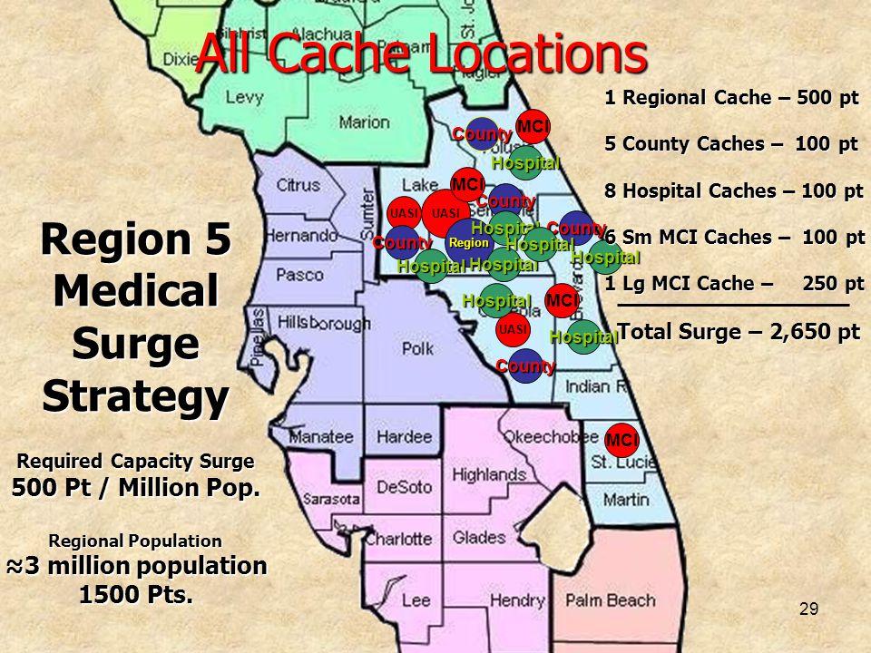 29 All Cache Locations UASI MCI UASI MCI UASI Region County County County County County Hospital Hospital Hospital Hospital Hospital Hospital Hospital