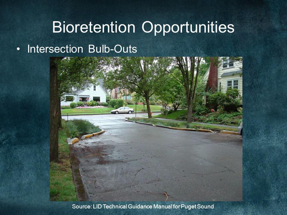 Bioretention Opportunities Intersection Bulb-Outs Source: LID Technical Guidance Manual for Puget Sound