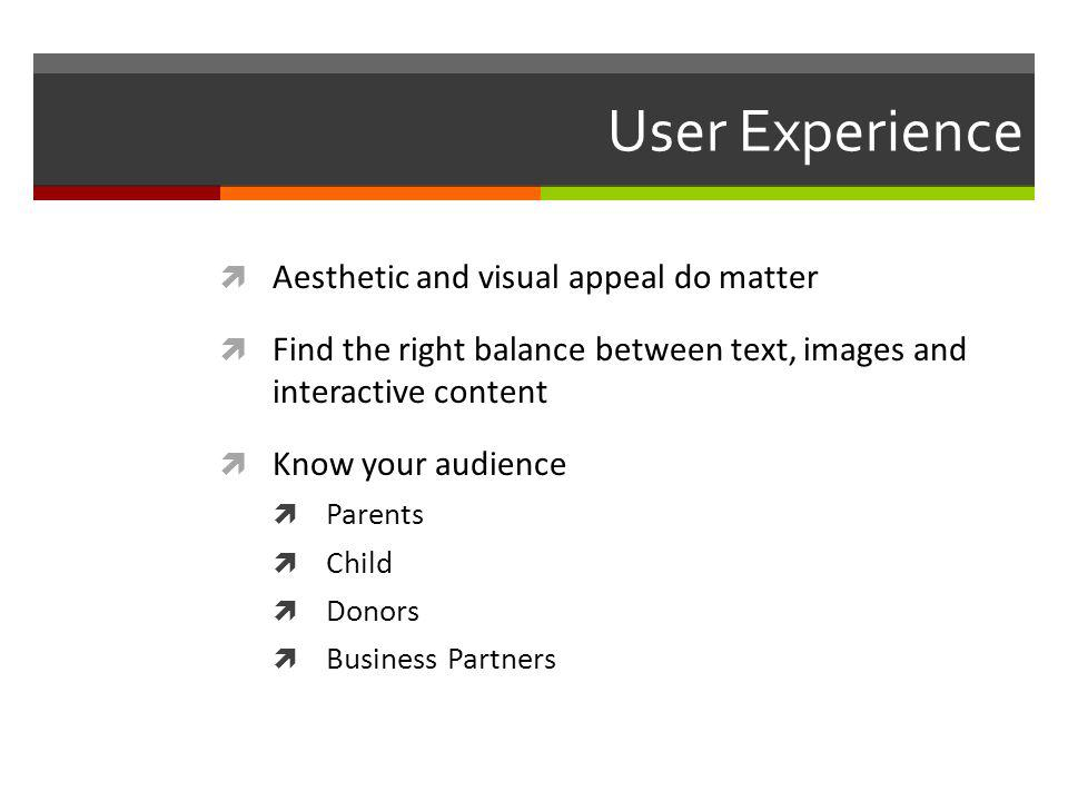 User Experience Aesthetic and visual appeal do matter Find the right balance between text, images and interactive content Know your audience Parents Child Donors Business Partners
