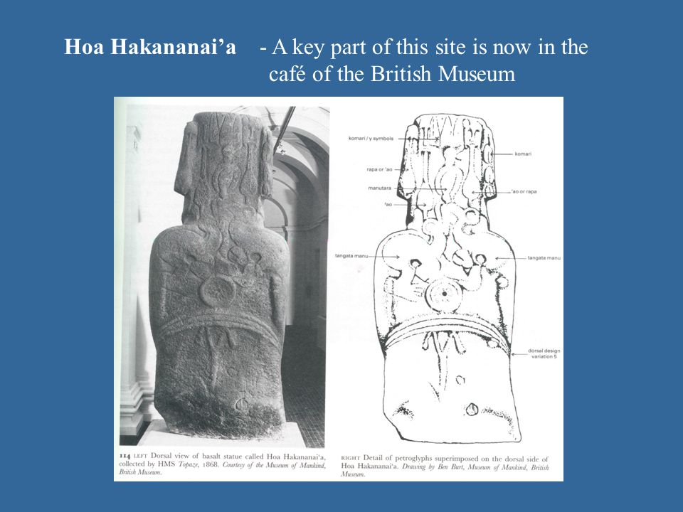 Hoa Hakananaia - A key part of this site is now in the café of the British Museum