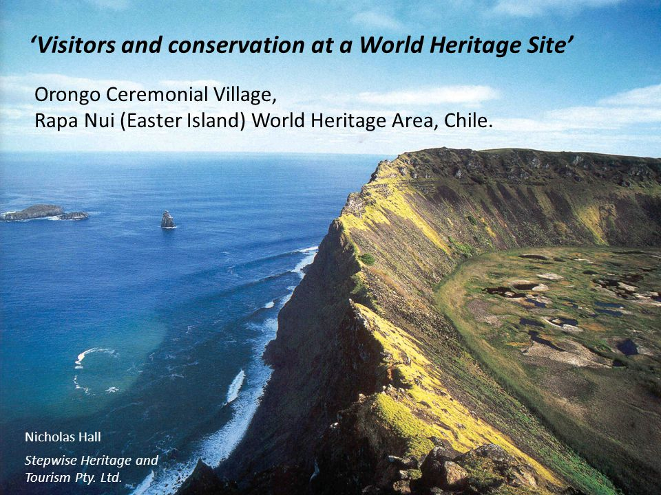 Visitors and conservation at a World Heritage Site Orongo Ceremonial Village, Rapa Nui (Easter Island) World Heritage Area, Chile.