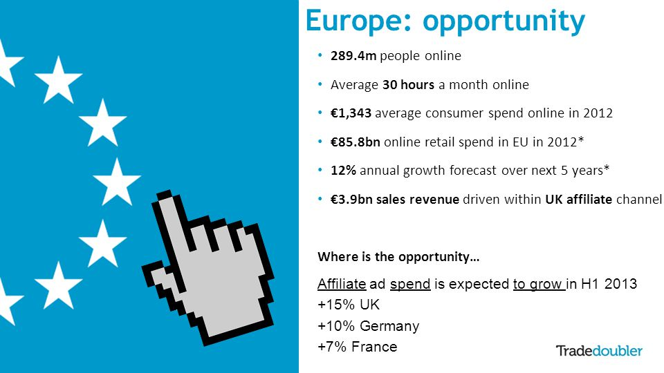 4 Europe: opportunity 289.4m people online Average 30 hours a month online 1,343 average consumer spend online in 2012 85.8bn online retail spend in EU in 2012* 12% annual growth forecast over next 5 years* 3.9bn sales revenue driven within UK affiliate channel Where is the opportunity… Affiliate ad spend is expected to grow in H1 2013 +15% UK +10% Germany +7% France