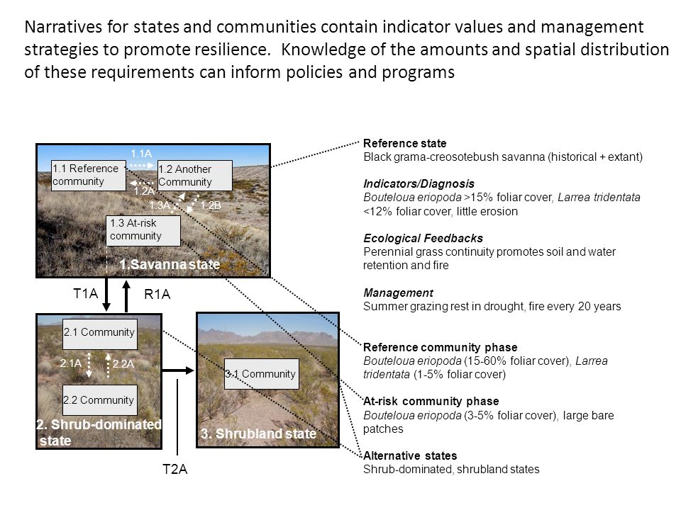 Narratives for states and communities contain indicator values and management strategies to promote resilience.