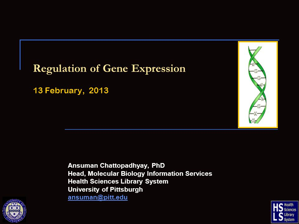 Regulation of Gene Expression 13 February, 2013 Ansuman Chattopadhyay, PhD Head, Molecular Biology Information Services Health Sciences Library System