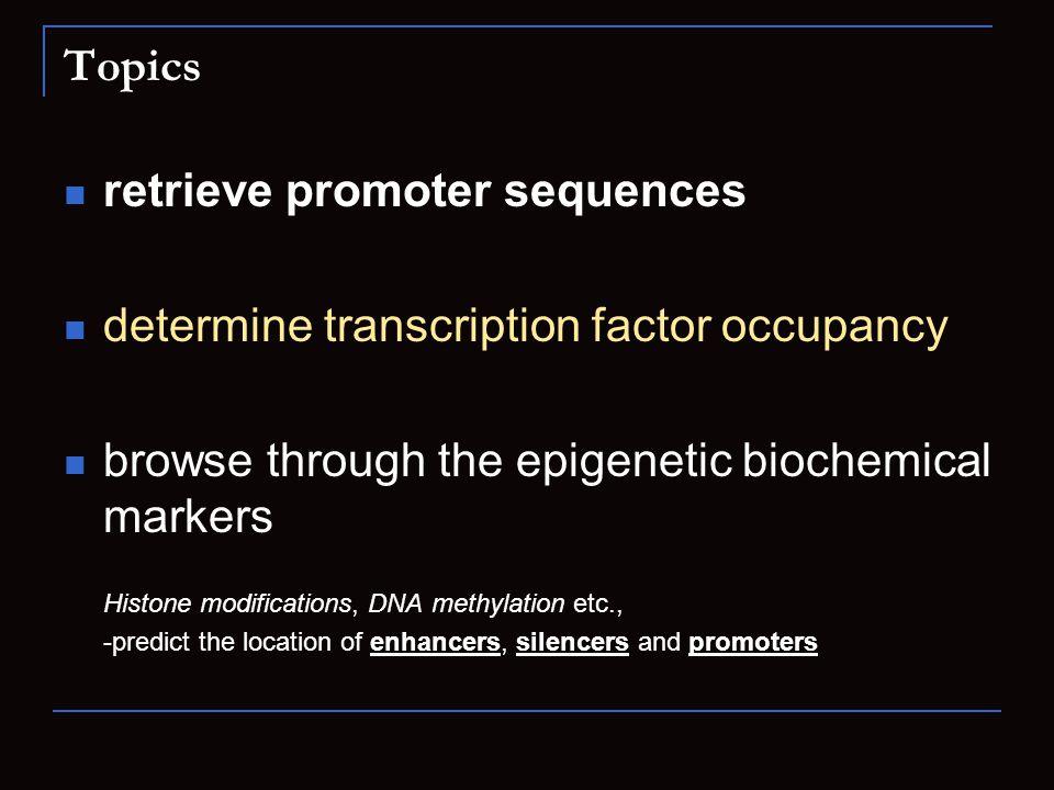 Topics retrieve promoter sequences determine transcription factor occupancy browse through the epigenetic biochemical markers Histone modifications, D