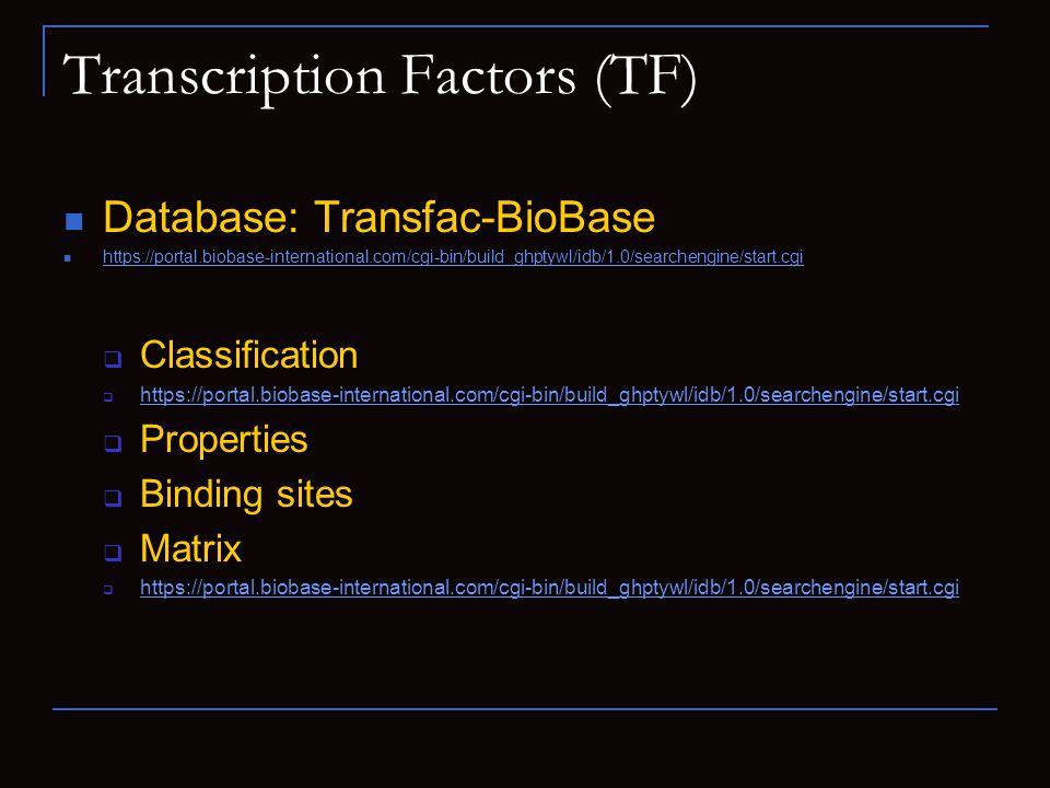 Transcription Factors (TF) Database: Transfac-BioBase https://portal.biobase-international.com/cgi-bin/build_ghptywl/idb/1.0/searchengine/start.cgi Cl