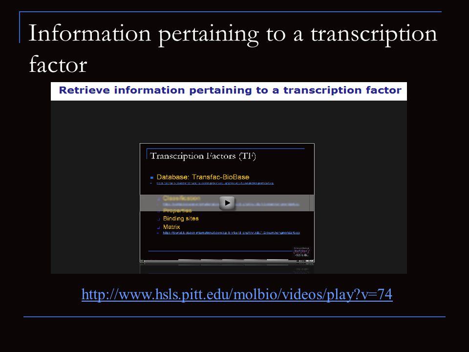 Information pertaining to a transcription factor http://www.hsls.pitt.edu/molbio/videos/play?v=74