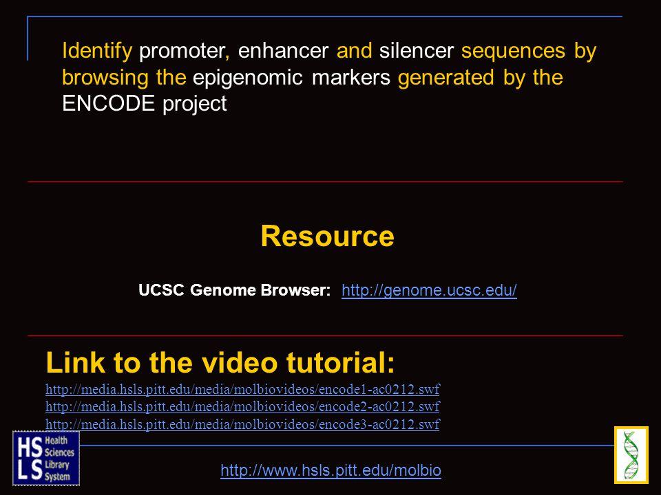 http://www.hsls.pitt.edu/molbio Link to the video tutorial: http://media.hsls.pitt.edu/media/molbiovideos/encode1-ac0212.swf http://media.hsls.pitt.ed