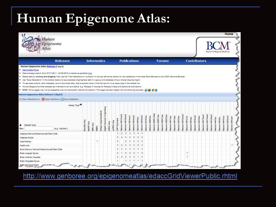 Human Epigenome Atlas: http://www.genboree.org/epigenomeatlas/edaccGridViewerPublic.rhtml