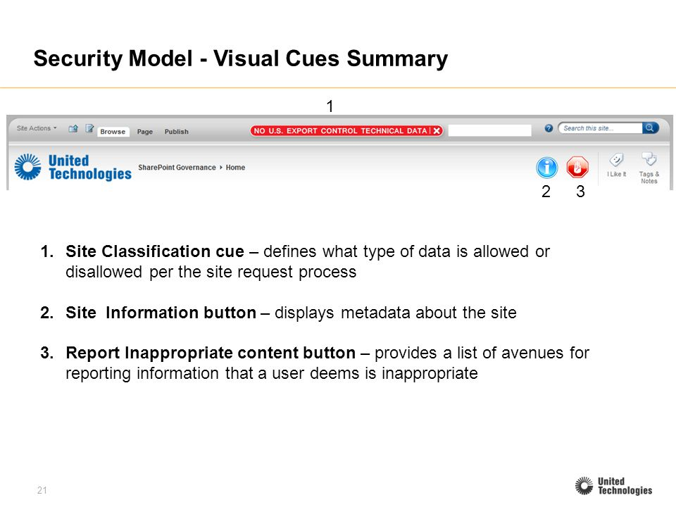 21 Security Model - Visual Cues Summary 1.Site Classification cue – defines what type of data is allowed or disallowed per the site request process 2.Site Information button – displays metadata about the site 3.Report Inappropriate content button – provides a list of avenues for reporting information that a user deems is inappropriate 1 23