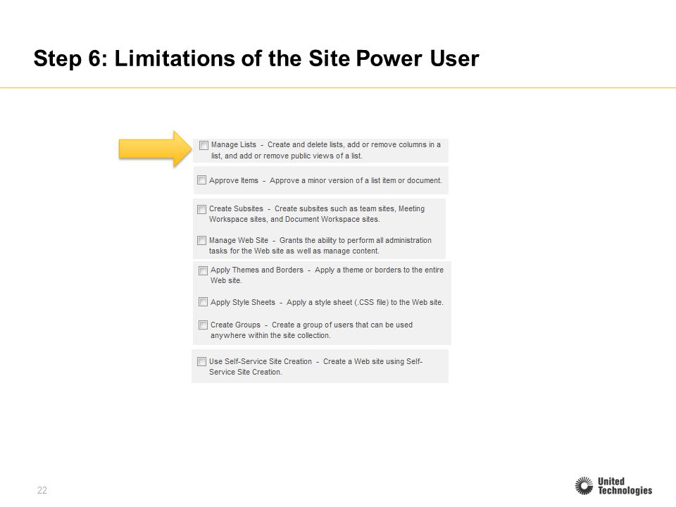 22 Step 6: Limitations of the Site Power User