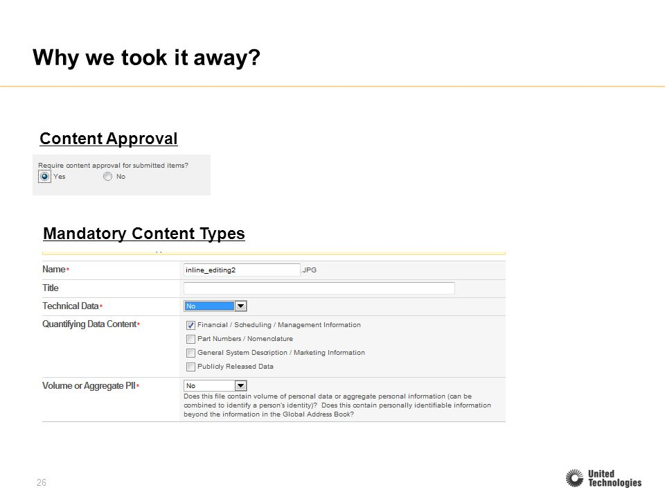 26 Why we took it away? Content Approval Mandatory Content Types