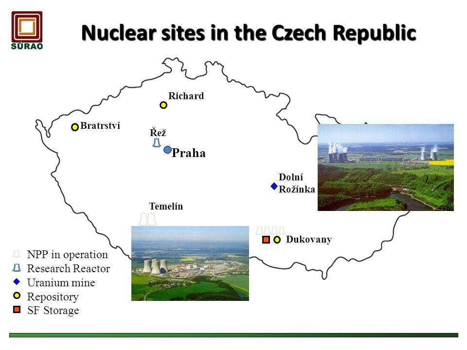 Nuclear sites in the Czech Republic Temelín Dolní Rožínka Dukovany Richard Bratrství Řež Praha Repository Research Reactor SF Storage Uranium mine NPP
