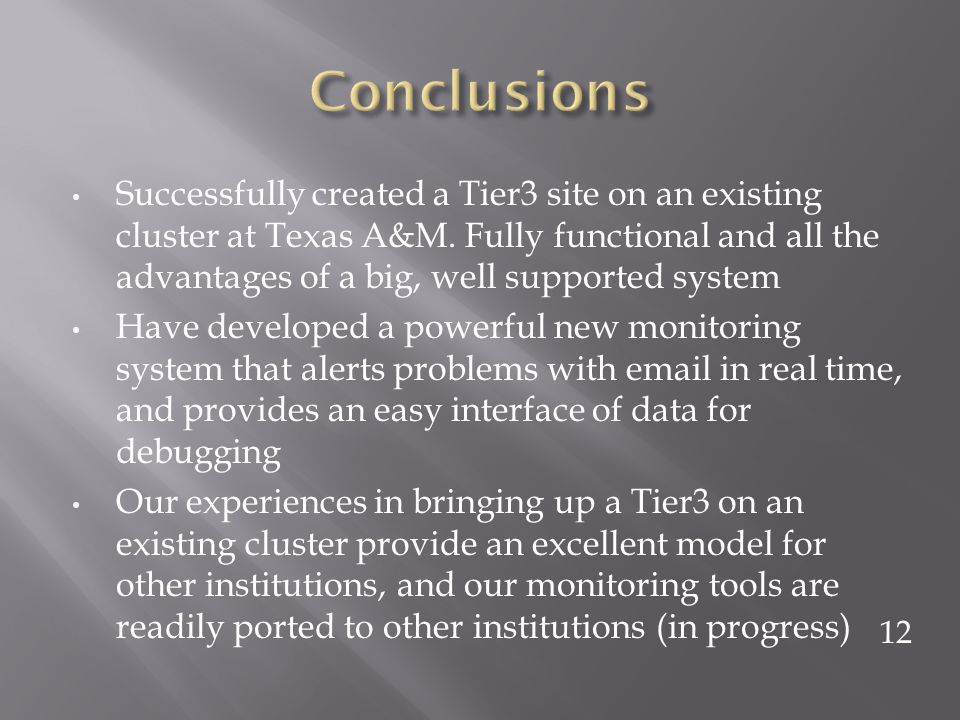 Successfully created a Tier3 site on an existing cluster at Texas A&M.