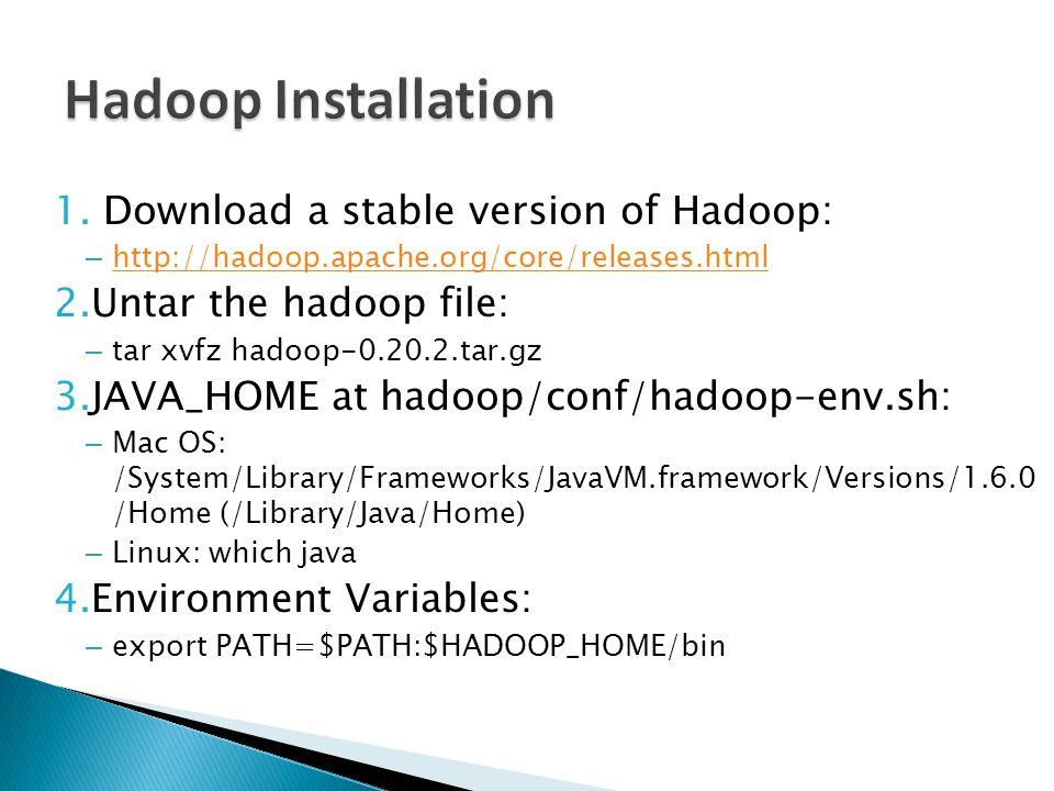 1. Download a stable version of Hadoop: – http://hadoop.apache.org/core/releases.html http://hadoop.apache.org/core/releases.html 2.Untar the hadoop f