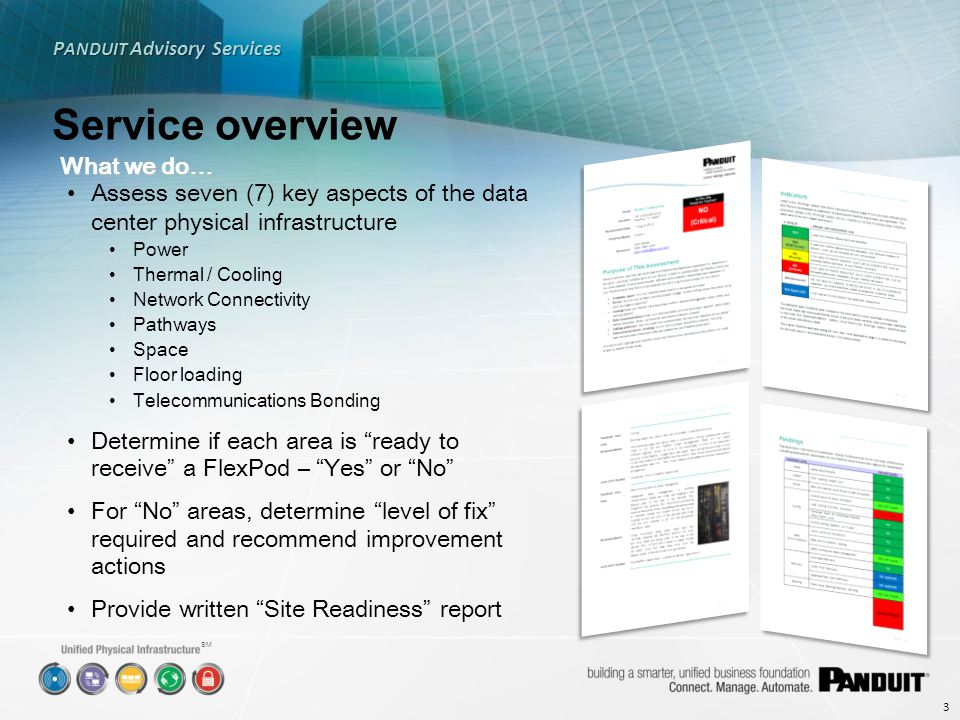 SM Service overview P ANDUIT Advisory Services 4 Areas assessed… ItemQuestion answered PowerIs the data center providing the proper power feeds for the FlexPod – Voltage, current rating, phase, frequency, plug style, agency approval.