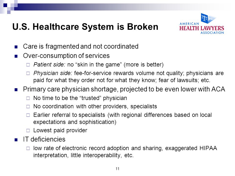 U.S. Healthcare System is Broken Care is fragmented and not coordinated Over-consumption of services Patient side: no skin in the game (more is better
