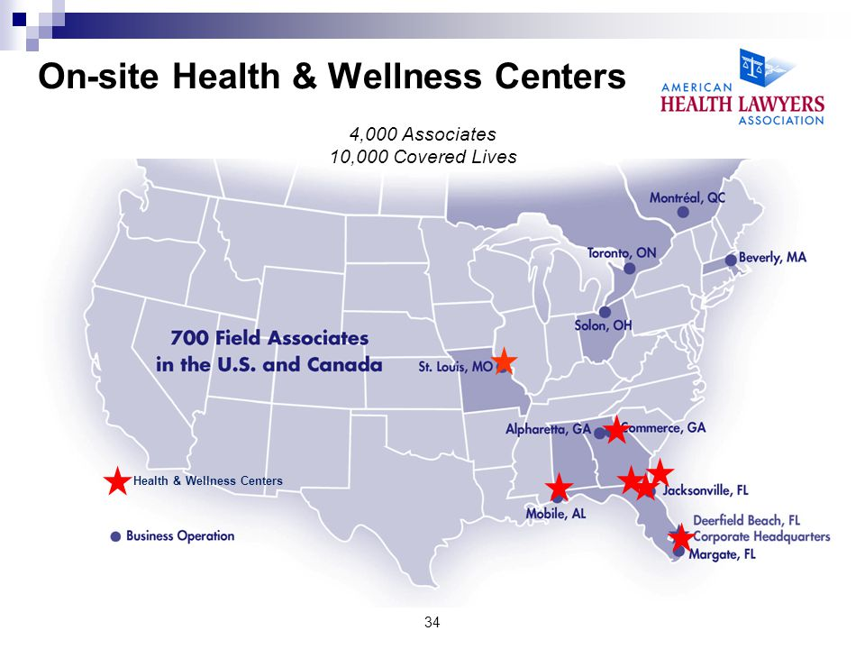 On-site Health & Wellness Centers Health & Wellness Centers 4,000 Associates 10,000 Covered Lives 34