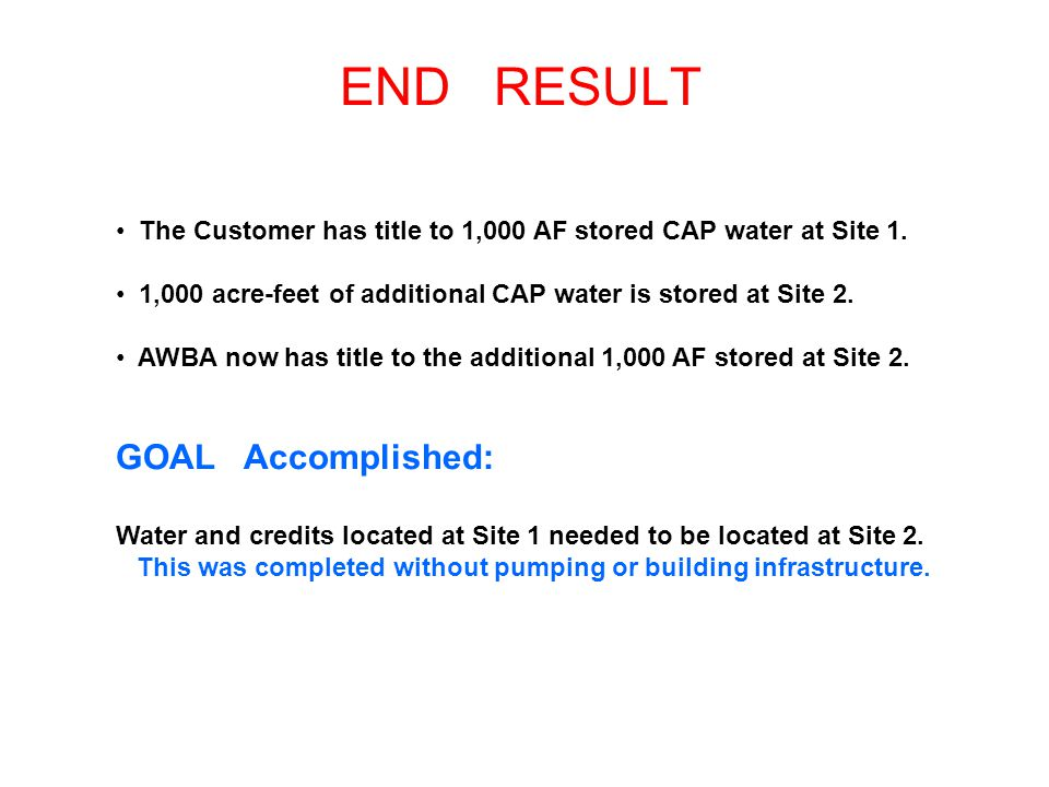 END RESULT The Customer has title to 1,000 AF stored CAP water at Site 1.