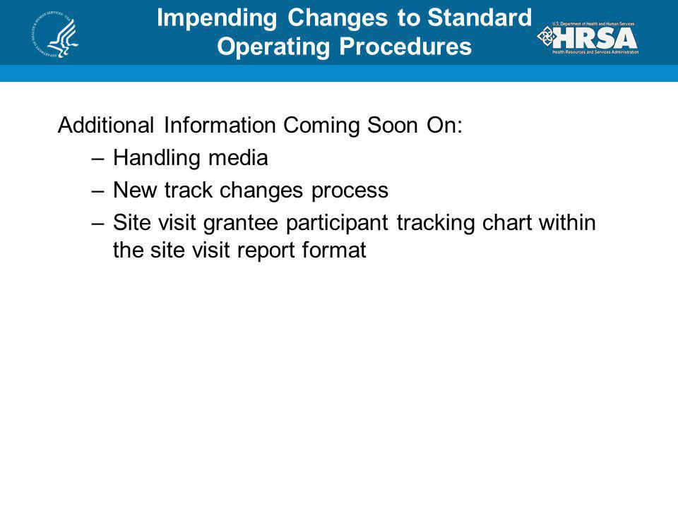 Impending Changes to Standard Operating Procedures Additional Information Coming Soon On: –Handling media –New track changes process –Site visit grant