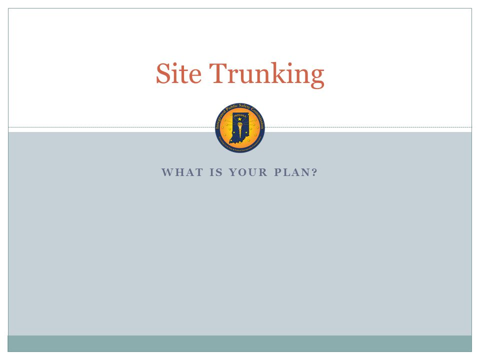 WHAT IS YOUR PLAN Site Trunking