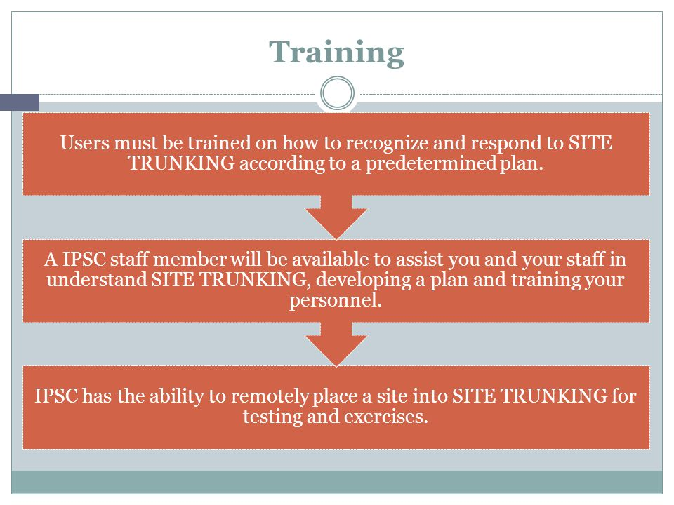 Training IPSC has the ability to remotely place a site into SITE TRUNKING for testing and exercises.