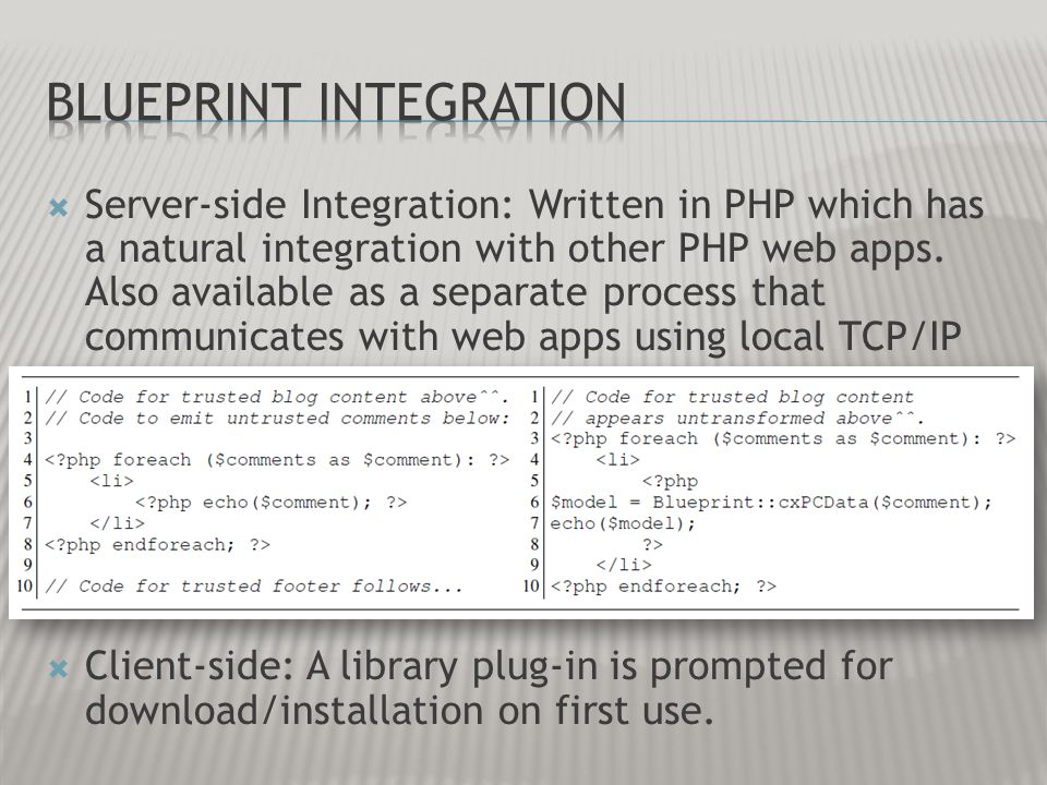 Server-side Integration: Written in PHP which has a natural integration with other PHP web apps. Also available as a separate process that communicate