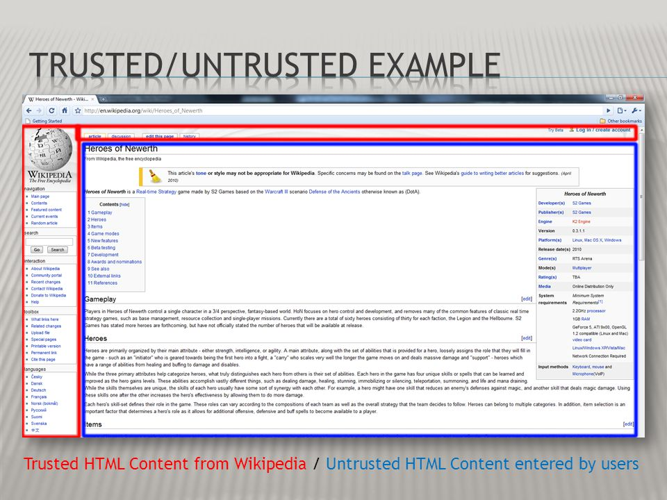 Trusted HTML Content from Wikipedia / Untrusted HTML Content entered by users
