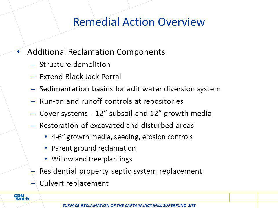 Remedial Action Overview Additional Reclamation Components – Structure demolition – Extend Black Jack Portal – Sedimentation basins for adit water div
